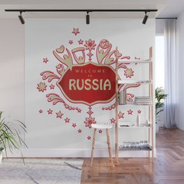 """Russia remembrance gift """"Welcome"""" invitation design travel Wall Mural"""