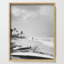 Back and white surf beach photo Serving Tray