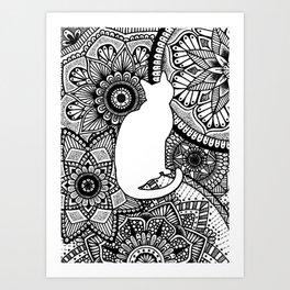Mandala Cat Silhouette Art Print
