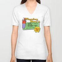 simpsons V-neck T-shirts featuring The Simpsons: Flaming Moe by dutyfreak