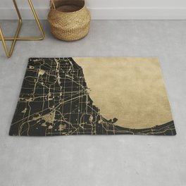 Chicago Black and Gold Street Map Rug