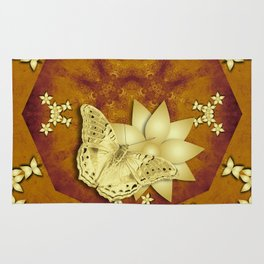 gold butterfly and flowers on copper mandala Rug