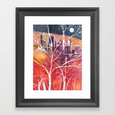 Towers between the trees Framed Art Print