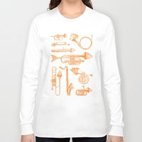 trumpet Long Sleeve T-shirts featuring Fish Trumpet by Hadar Geva