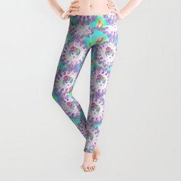 Psychedelic Rainbow Unicorn Girl Leggings