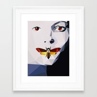 silence of the lambs Framed Art Prints featuring Silence of the Lambs - Low Poly by Camilo