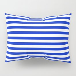 Cobalt Blue and White Thin Horizontal Deck Chair Stripe Pillow Sham