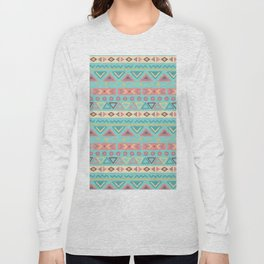 Hand painted teal coral ivory geometrical tribal pattern Long Sleeve T-shirt