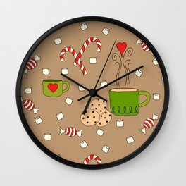 Candy and Cocoa Winter Pattern Wall Clock