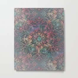 Winter Sunset Mandala in Charcoal, Mint and Melon Metal Print