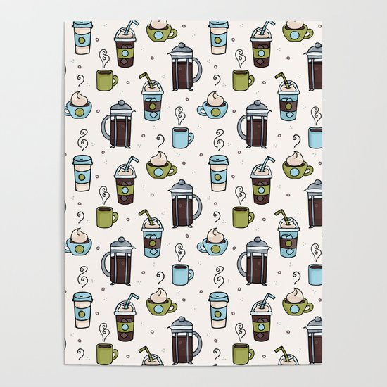 Vector coffee seamless repeat pattern illustration different caffeine drinks by limolida