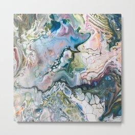 Sea and Land Acrylic Abstract Painting Metal Print