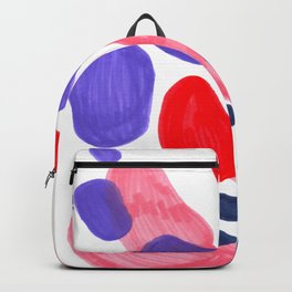 Colorful Bright Mid Century Modern Abstract Bubbles Red Purple Navy Blue Fun Pattern Backpack