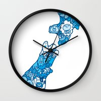 new zealand Wall Clocks featuring NEW ZEAlAND  by Jun Arita