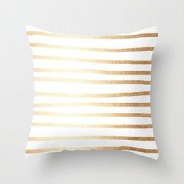 Simply Drawn Stripes Golden Copper Sun Throw Pillow