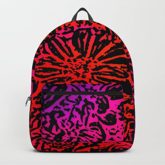 Marigold Lino Cut, Fuchsia Diagonal Gradient Backpack