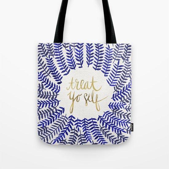 Treat Yo Self – Gold & Navy Tote Bag