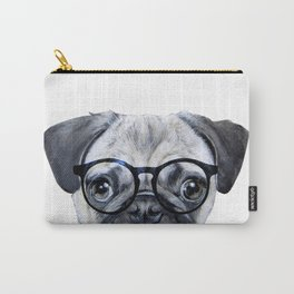 Pug with glasses Dog illustration original painting print Carry-All Pouch