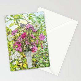 Catbird with Cosmos Stationery Cards