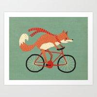 mr fox Art Prints featuring mr. fox by tesslucia