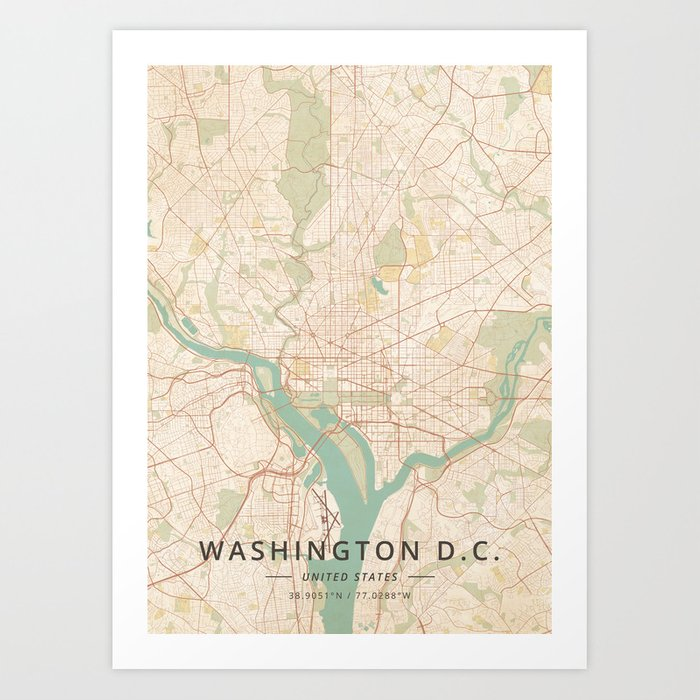 Washington D.C., United States - Vintage Map Kunstdrucke