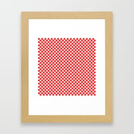 Large Australian Flag Red and White Check Checkerboard Framed Art Print