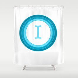 Blue letter I Shower Curtain