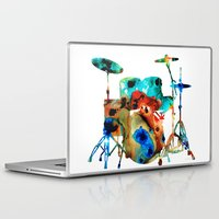 drums Laptop & iPad Skins featuring The Drums - Music Art By Sharon Cummings by Sharon Cummings
