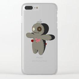Voodoo doll. Cartoon horror elements. Spooky fear trick or treat Clear iPhone Case