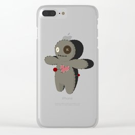 Voodoo doll. Cartoon horror elements. Spooky fear trick or treat Clear iPhone Case