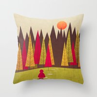red riding hood Throw Pillows featuring Little Red Riding Hood by Annisa Tiara Utami