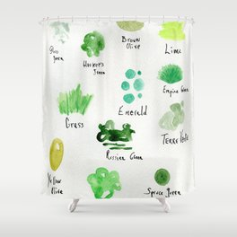Greens -a watercolor collection of shades Shower Curtain