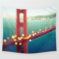 bridge Wall Tapestries featuring Meet Me In San Francisco by Laura Ruth