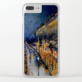 The Boulevard Montmartre At Night : Camille Pissarro Clear iPhone Case
