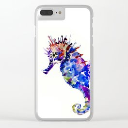 Blue Coral Seahorse, coral reef animals sea world blue purple decor Clear iPhone Case