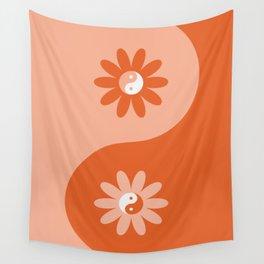 Yin Yang Flower in Orange & Peach Wall Tapestry