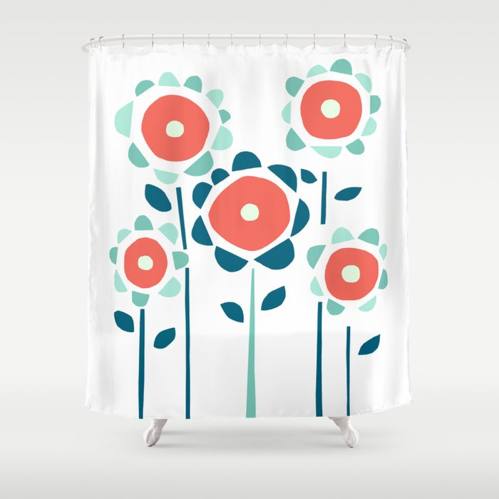 Coral and Aqua Garden of Flowers Shower Curtain