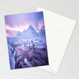 Freezing Mountain Lake Landscape Stationery Cards