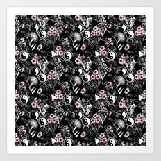 Abstract .floral black and white pattern. Art Print