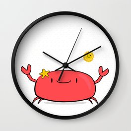 Kawaii Crab Friend Wall Clock