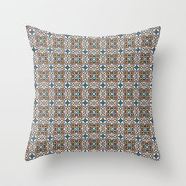 orange and blue points - repeating symmetrical pattern  Throw Pillow