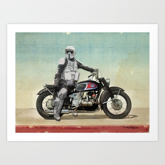 Looking for the drones, Scout Trooper Motorbike Art Print