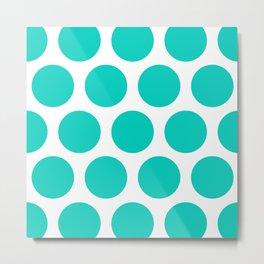 Large Polka Dots: Aqua Blue Metal Print
