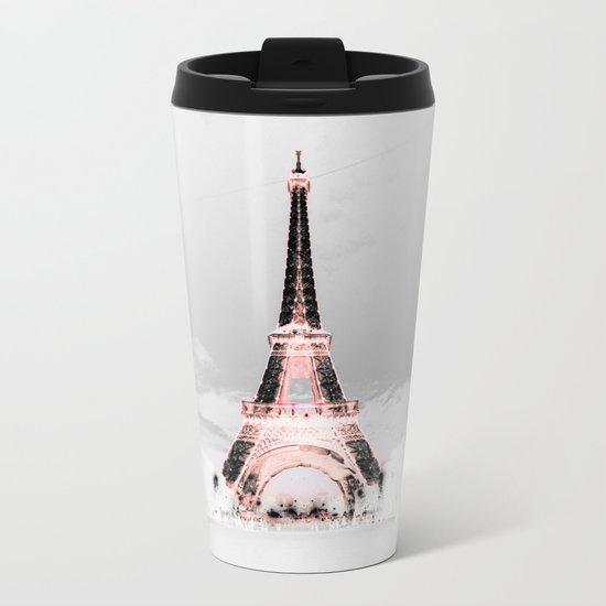 pariS Black & White + Pink Metal Travel Mug