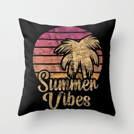 Summer Vibes Vacation Holidays Vintage Throw Pillow