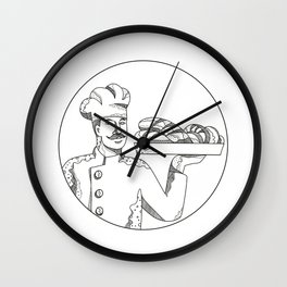 Baker Holding Bread on Plate Doodle Art Wall Clock