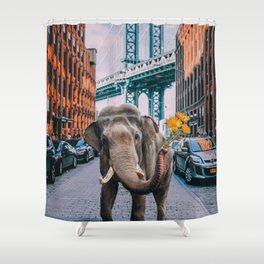 Elephant in NY Shower Curtain