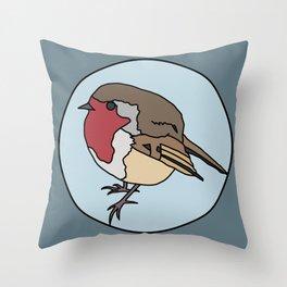 Robin - Robin Redbreast (blue) Throw Pillow