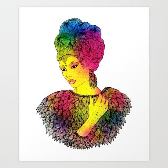 "Rainbow girl ""Heart"" Art Print"