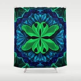 In the Deep Blue Lily Pad Dreams of a Green Man Shower Curtain